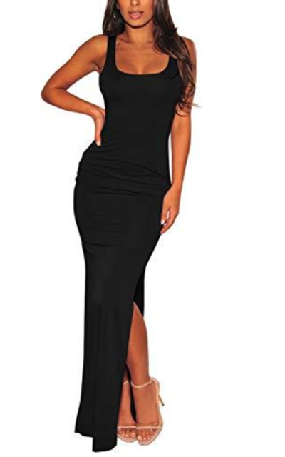 Meenew Sexy Low Cut Side Shirring Bodycon High Slit Long Dress