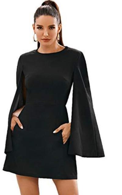 SheIn Cloak Sleeve Mini Cape Dress