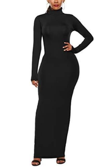 ioiom Turtleneck Plain Maxi Dress