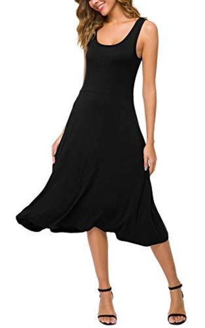 Urban CoCo U-Neck Sleeveless Solid Flared Midi Dress