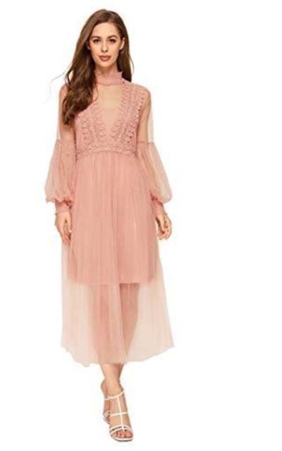 SOLY HU Mesh Peplum Midi Dress