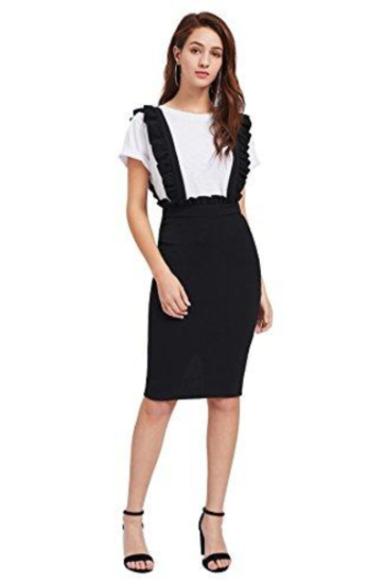 MakeMeChic Frill Ruffle Hem Bodycon Suspender Overall Skirt