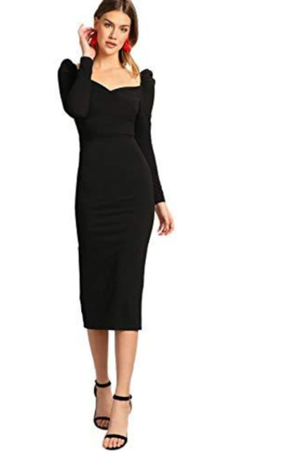 Verdusa Puff Sleeve Pencil Dress