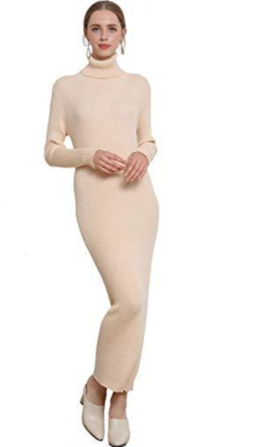 Cable Stitch Ribbed Knitted Sweater Dress