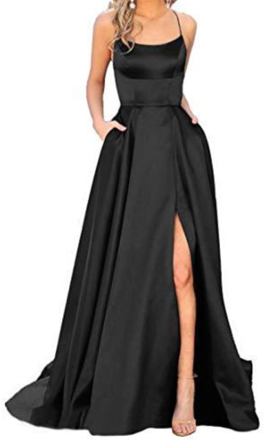 JASY  Satin Long Black Side Slit Prom Dress