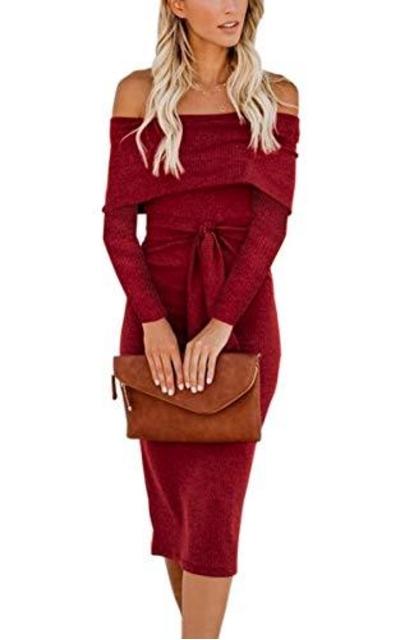 Hibluco Off Shoulder Midi Dress with Belt Red