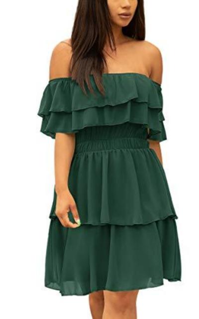 Off Shoulder Layered Ruffles Mini Dress