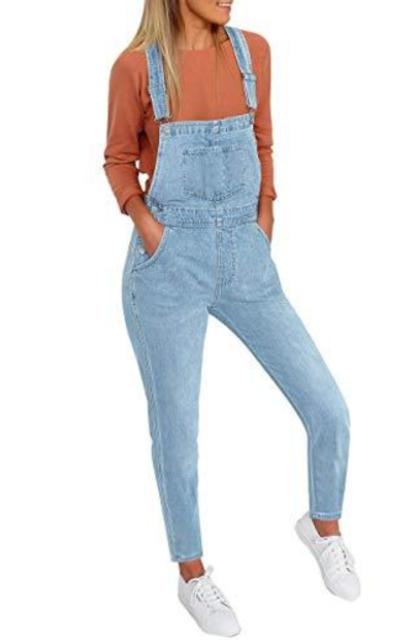 Vetinee Light Blue Classic Bib Overalls Jeans