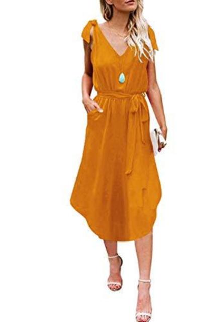ANRABESS Beach Dress with Pockets