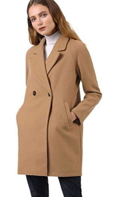 Allegra K Notched Lapel Double Breasted Raglan Coats
