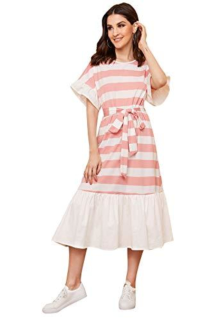 DIDK Striped Ruffle Hem Flounce Sleeve Dress