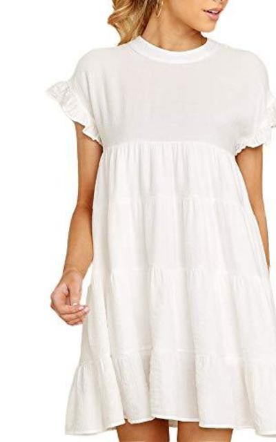 Joteisy O Neck Ruffle Short Sleeve Mini Dress