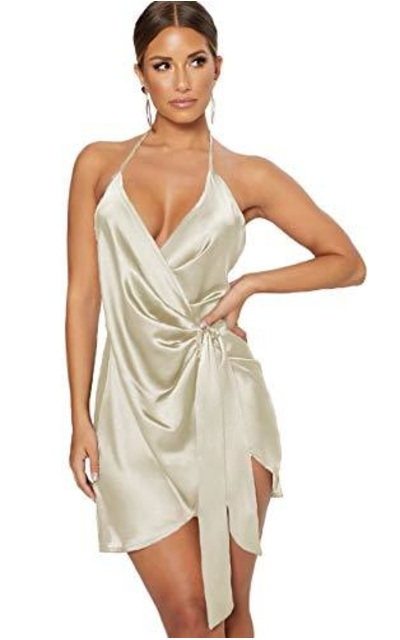 Satin Halter Backless Wrap Dress