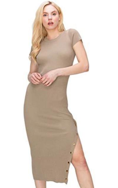 Monologue Midi Bodycon Ribbed Snap Side Slit Dress