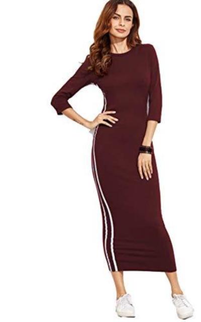 Milumia Bodycon Slim Fit Sweatshirt Maxi Dress