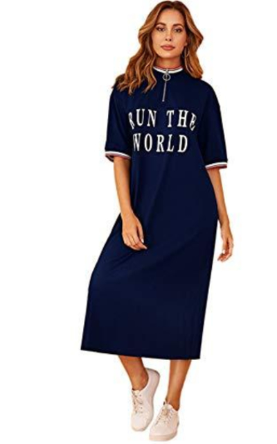 Verdusa Women's Zip Up Letter Print Mock Neck Half Sleeve T-Shirt Dress Navy S
