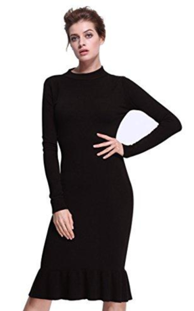 ninovino Ribbed Knit Long Sleeve Slim Fit Sweater Dress