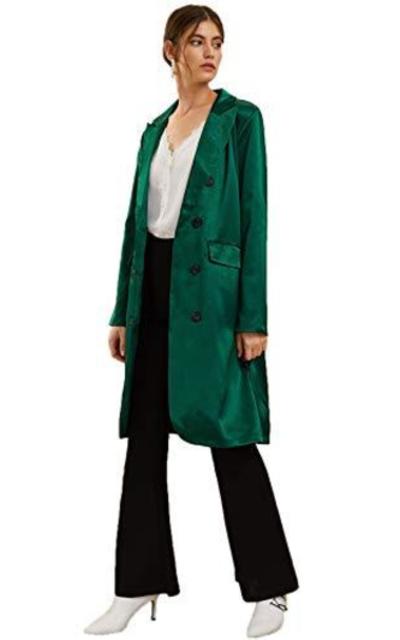 Verdusa Longline Satin Blazer Coat