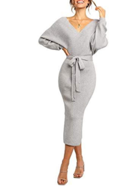 Midi Wrap Bodycon Sweater Dresses
