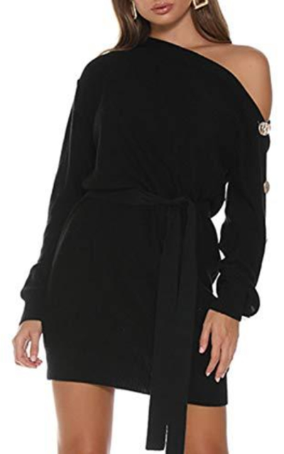 MsLure Off Shoulder Knitted Sweater Dress