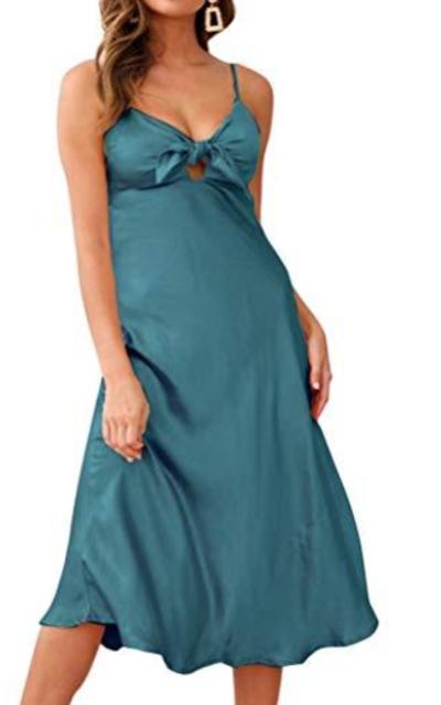 FANCYINN Satin Dress Tie Front