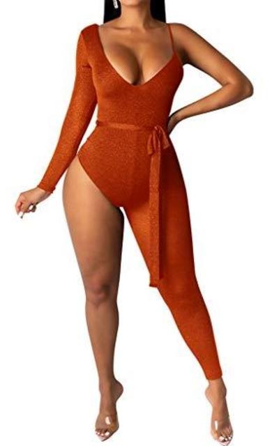 Bodycon4U One Sleeve Thong Bodysuit Jumpsuit Catsuit