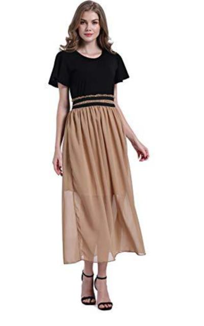 FJPTREN Elastic Waist Chiffon Dress