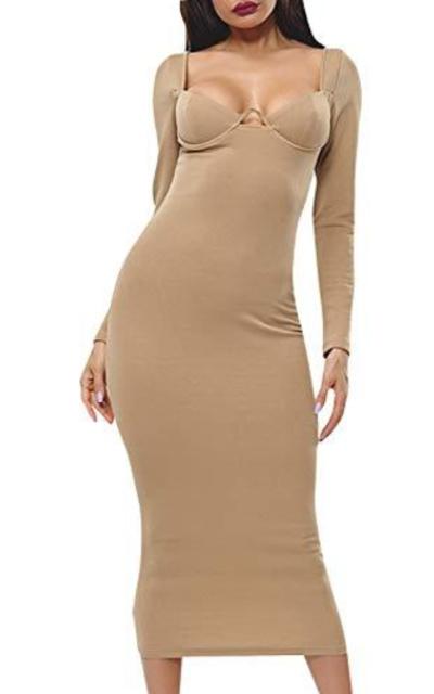 Glamake Cutout Bodycon Sweater Maxi Dress
