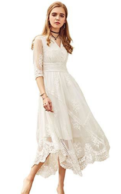 Artka Lace Embroidered Maxi Dress