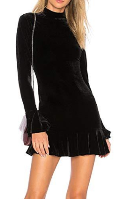 R.Vivimos Velvet Ruffles Bodycon Mini Dress