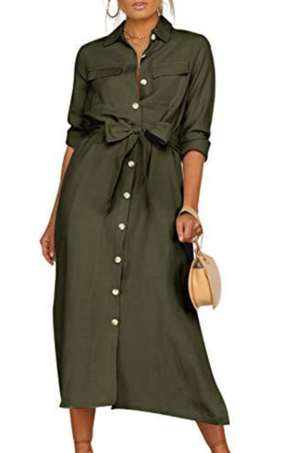 MsLure Long Sleeve Button Down Dress