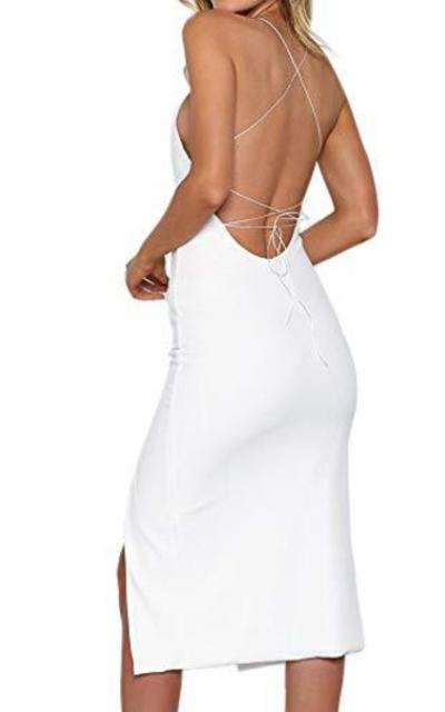 Backless Bodycon Side Split Midi Dress