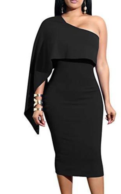 GOBLES One Shoulder Bodycon Midi Dress