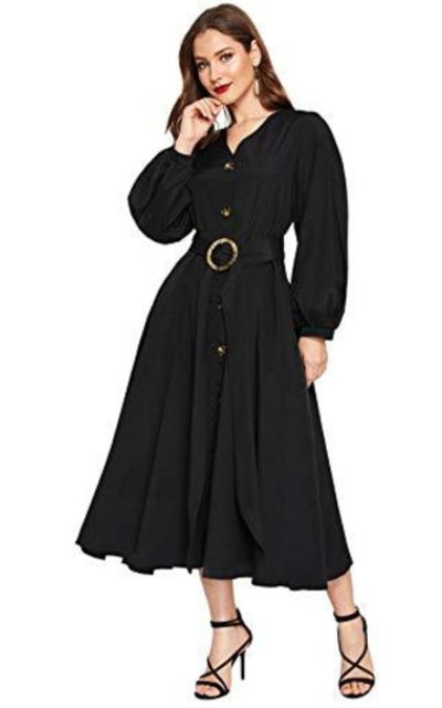 DIDK Bishop Sleeve Button Front Belted Dress