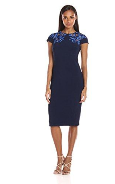 JS Collection Embroidered Dress with Open Back