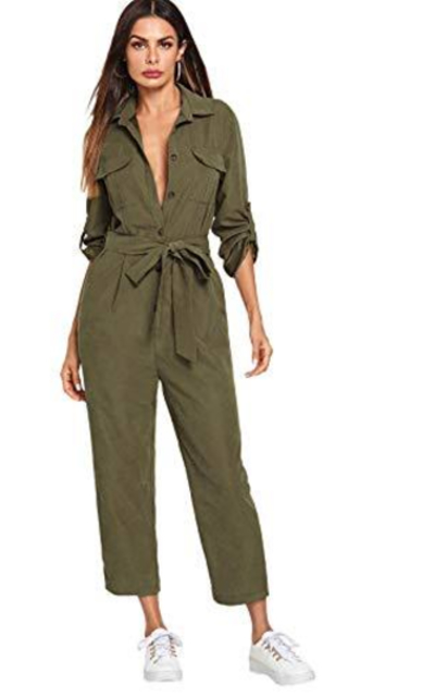 SOLY HUX Button Front Roll-Up Sleeve Belted Jumpsuits Rompers