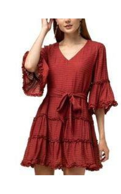 RBBK Brick Red Textured Striped Tiered 3/4 Bell Sleeve Dress