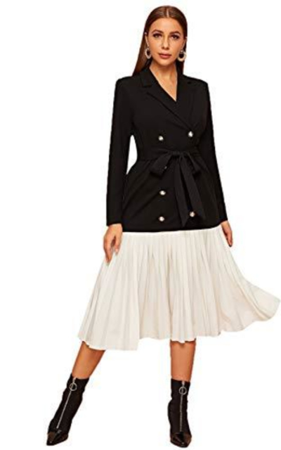 Verdusa Pleated Belted Long Blazer Dress