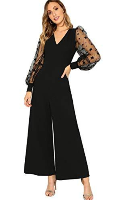 ROMWE Mesh Galaxy Wide Leg Jumpsuit