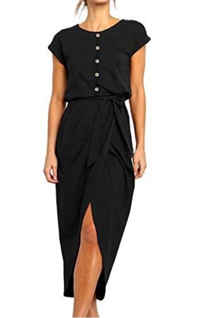 Angashion Midi Dress with Belt