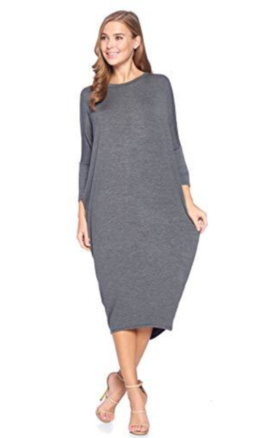 12 Ami Solid Long Sleeve Dress