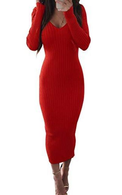V Neck Knit Ribbed Bodycon Midi Dress