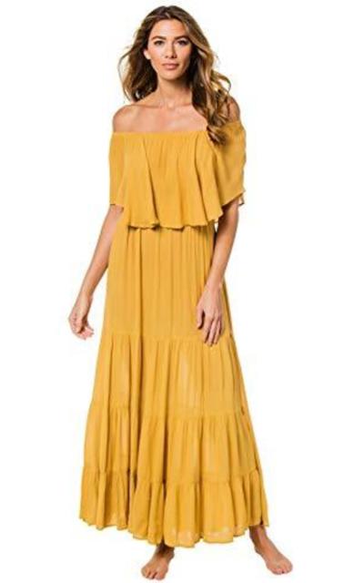 Elan International Off The Shoulder Flounce Maxi Dress