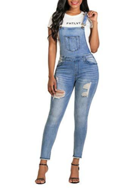 MEISITE Stretch Denim Skinny Overalls