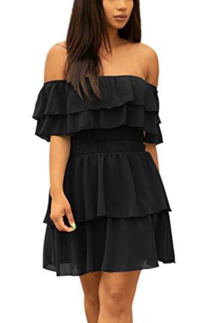Tiered Off Shoulder Ruffle Chiffon Mini Dress