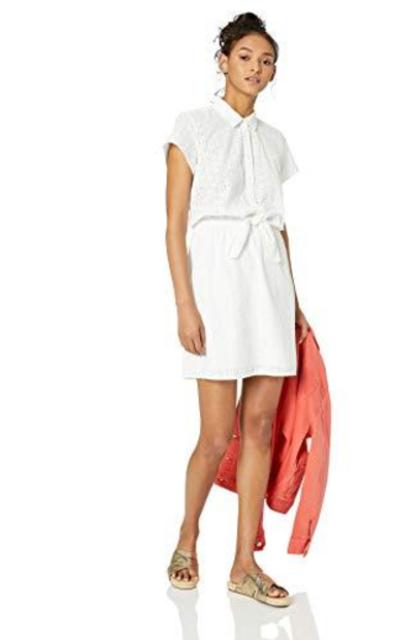 J.Crew Mercantile Short-Sleeve Eyelet Collared Tie Front Dress