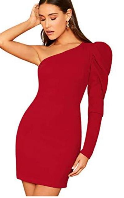 ROMWE Sexy One Shoulder Bodycon Dress