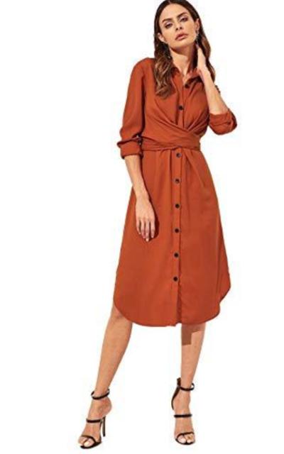 ROMWE Knot Wrap Tunic Dress