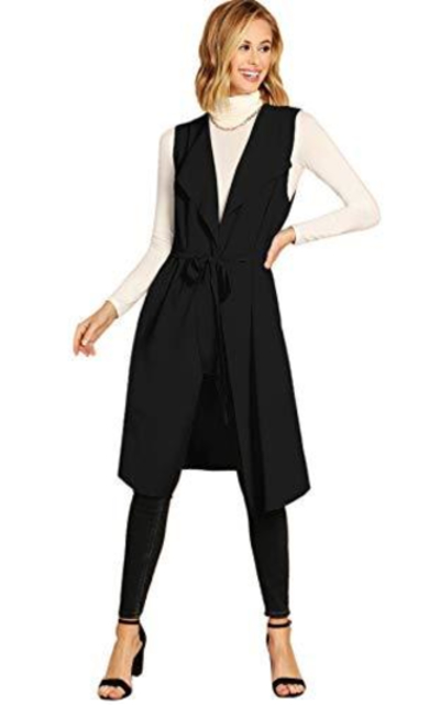 SheIn Lapel Open Sleeveless Vest Blazer with Belt