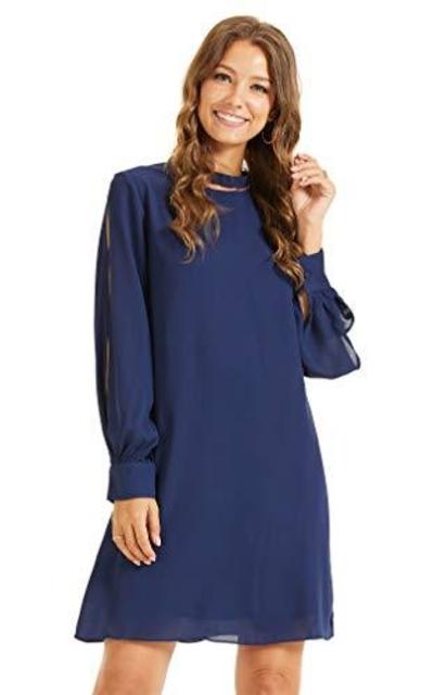 SONJA BETRO Amazon Brand Mock Neck Shift Dress